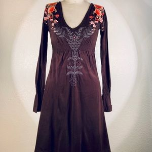 Johnny Was Medieval emb dress tunic cotton XS NWT